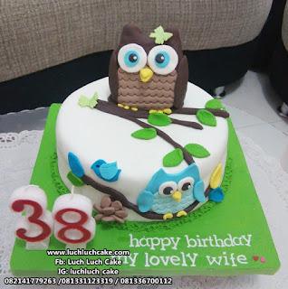 Kue Tart Burung Hantu Owl Fondant Cake