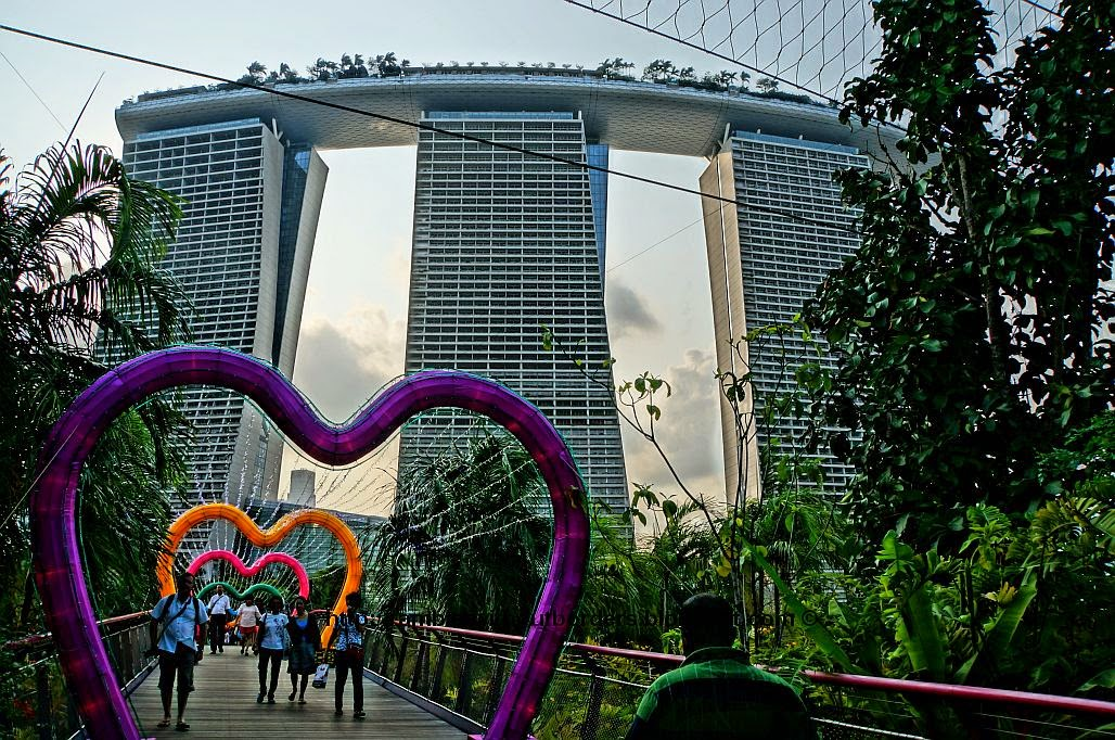 bridge with heart shape lantern decoration during Mid-Autumn Festival, Gardens by the Bay, Singapore