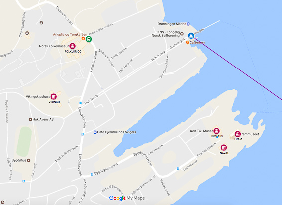 Mapa Museos en Bygdoy en Oslo