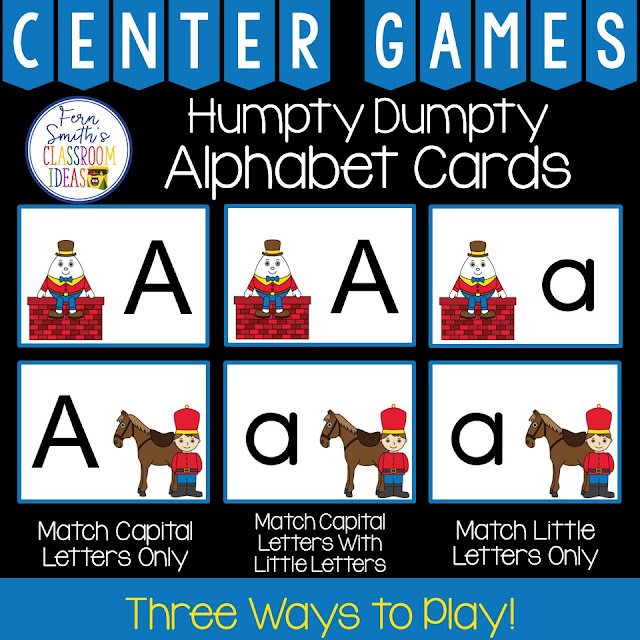 Alphabet Matching Centers With an Adorable Humpty Dumpty Theme