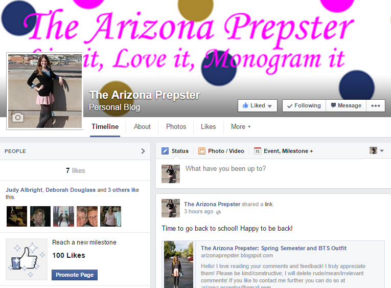 The Arizona Prepster is on Facebook and Tumblr!
