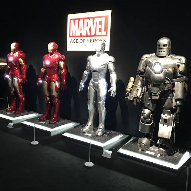 マーベル展で展示されていた歴代アイアンマンです。
