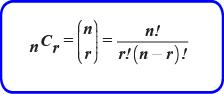 Rumus  Banyaknya kombinasi dari n unsur yang berbeda dengan setiap pengambilan dengan r unsur