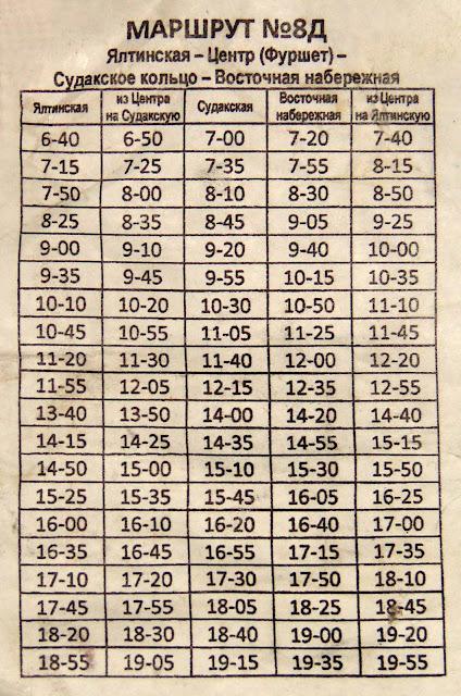 Алушта-2012: Расписание автобуса  № 8Д