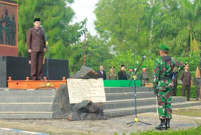upati Ngawi Pimpin Upacara Peringatan Hari Kesaktian Pancasila Di Monumen Soerjo