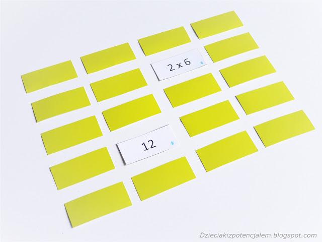 Matematyczna gra DIY do utrwalania tabliczki mnożenia polegająca na odnajdowaniu par kartoników z działaniem i pasującym mu wynikiem