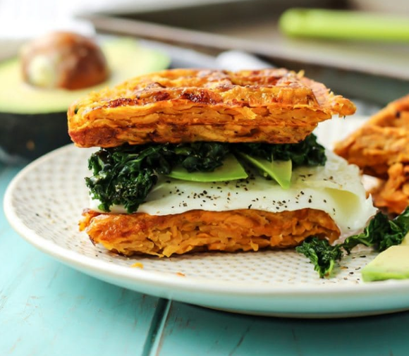 PALEO SWEET POTATO WAFFLE BREAKFAST SANDWICH  #vegetarian #paleo