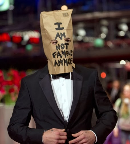 Shia LaBeouf with a paper bag on his head at Berlinale