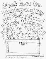 An illustration for Matthew 6:33 to print and color.