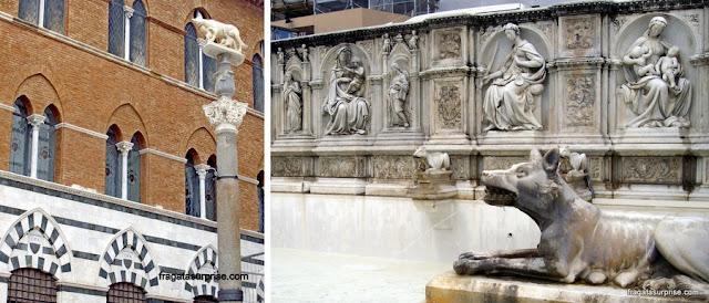 A Loba Romana na Praça do Duomo e na Fonte Gaia, em Siena