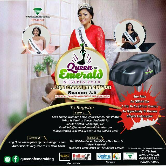 Call for entry Queen of emerald Nigeria Flags of her 2018 Registration