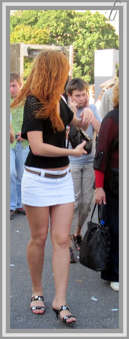 Red Head Moscow Girl In White Mini Skirt