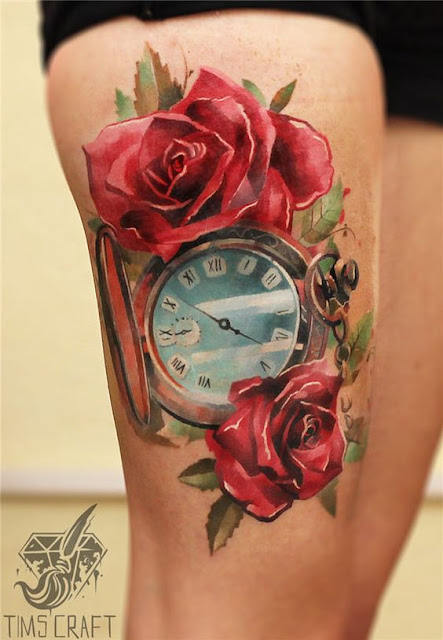 Colorful Rose Tattoo With Clock on Thigh