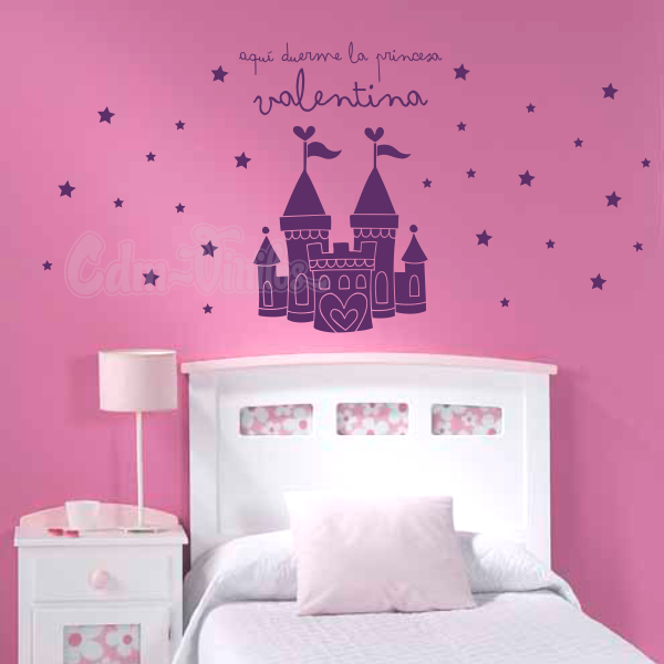 vinilo decorativo infantil castillo princesa niña nena estrellas dormitorio pared