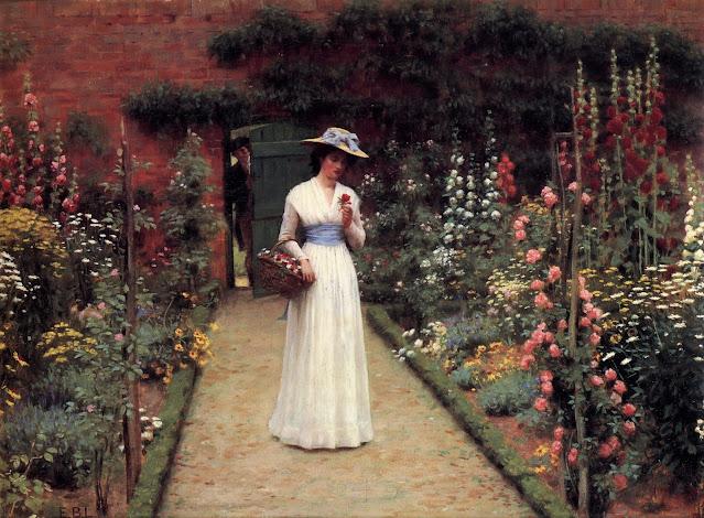Dipinto Frederic Leighton, Lady in a garden