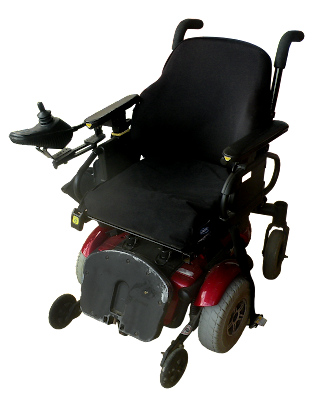 A compact electric wheelchair with hand controls.