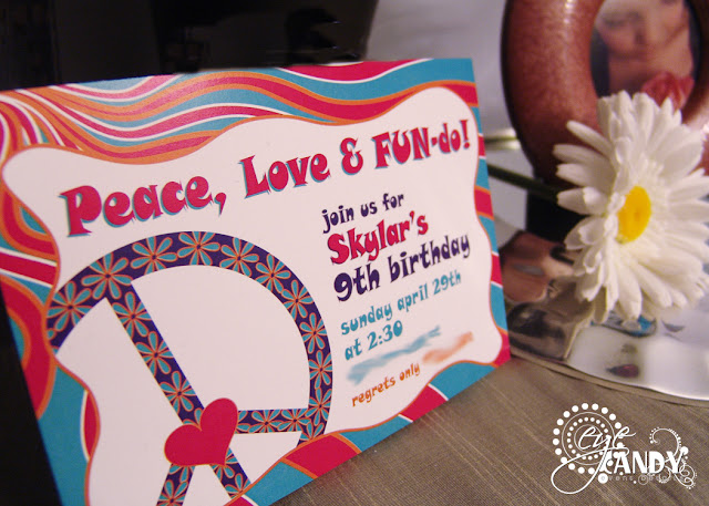 peace love & fun-do invitation, peace party invite, flower child