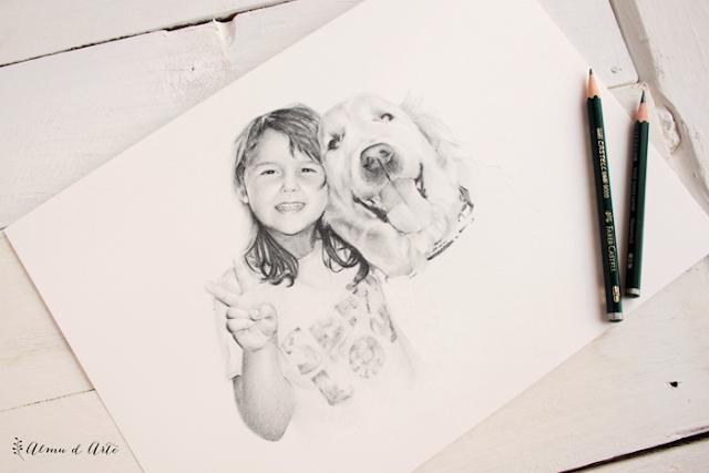 Niños y mascotas. Dibujo a lápiz