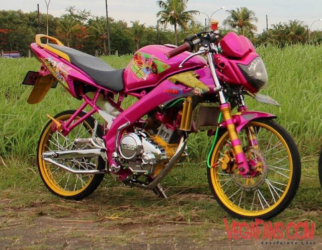 Vixion Modif Jari Jari Warna Pink Velg Gold