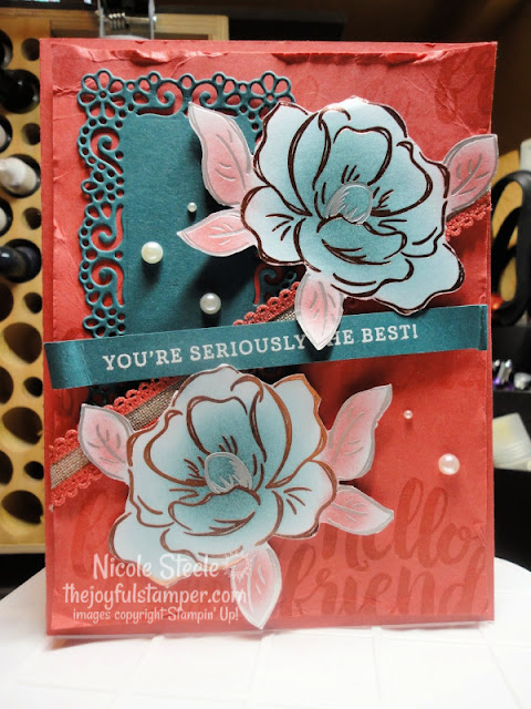 Seriously The Best + Flowering Foils colored with sponge daubers | Thinking of You card | Ornate Frames dies | Nicole Steele The Joyful Stamper | Stampin' Up!