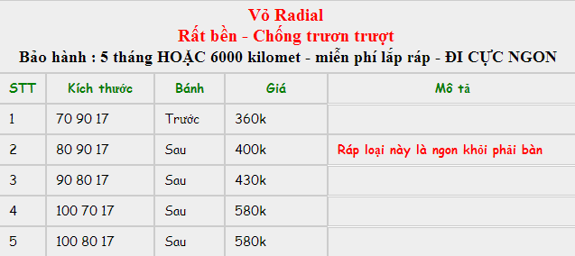 Lốp xe Exciter Radial