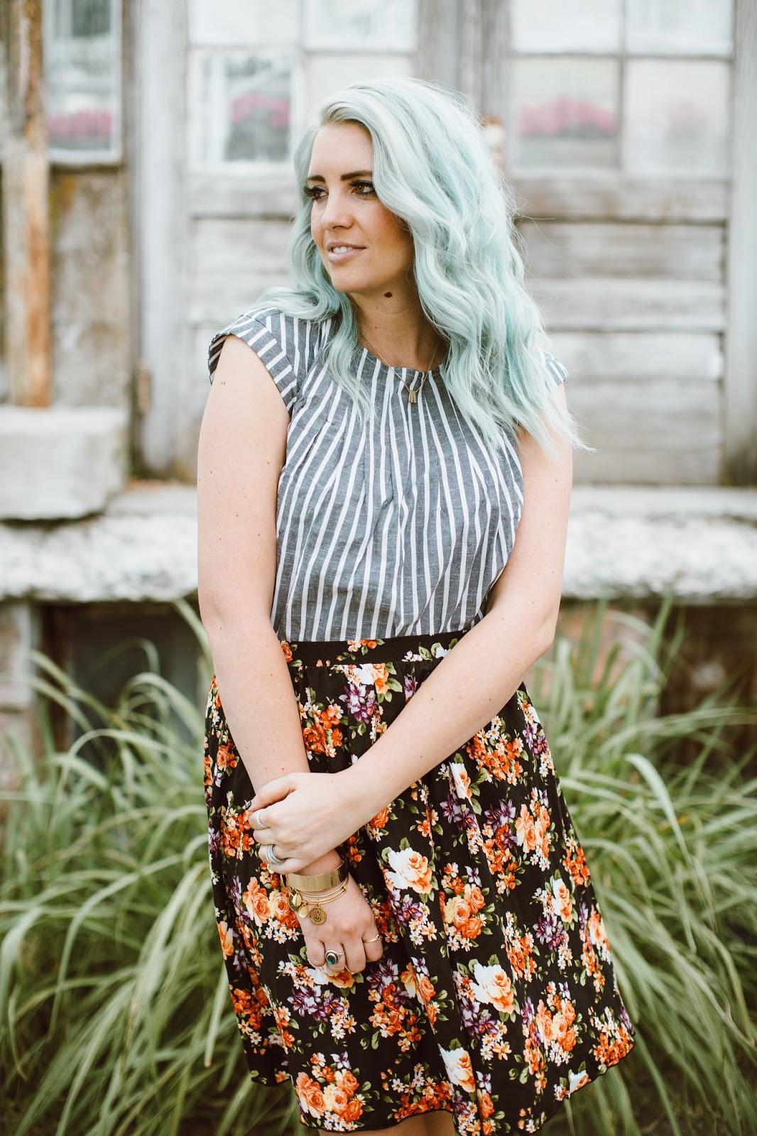 Floral Skirt, Modest Fashion blogger, Stripes