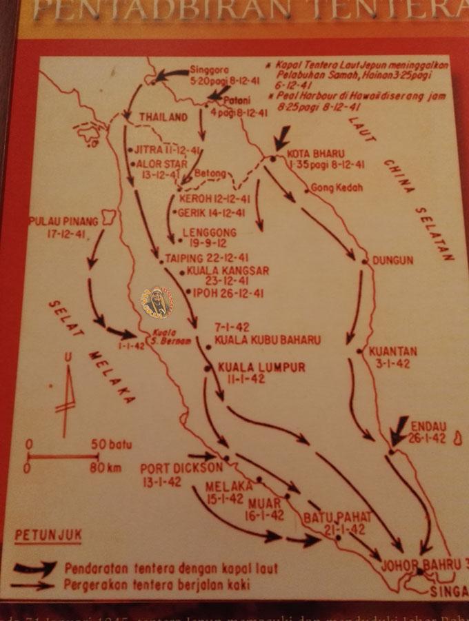 Peta Penaklukan Jepun ke atas Malaya