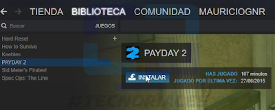PAYDAY 2 disponible para ser descargado desde el cliente steam.