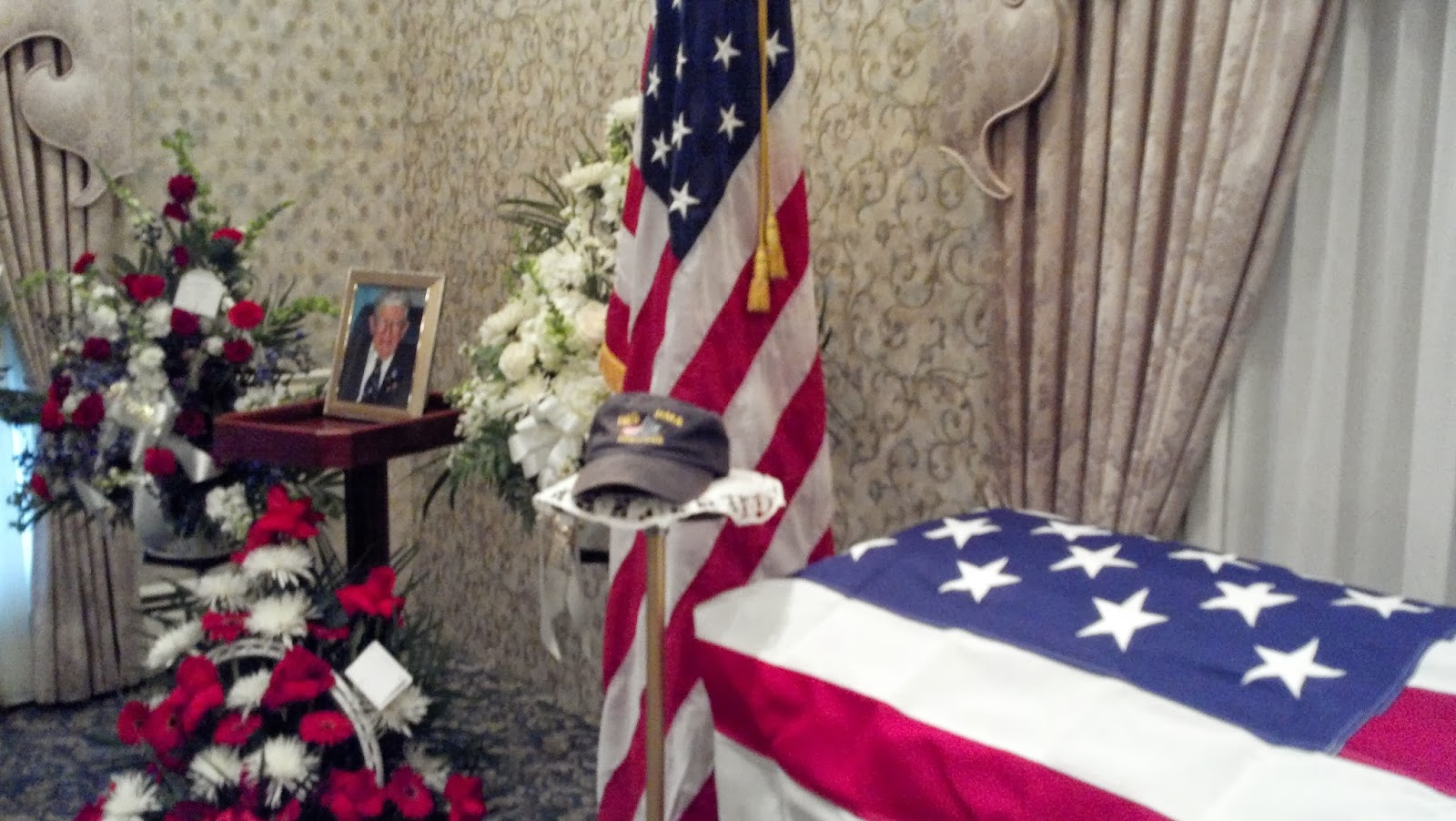 Jerry's coffin at the funeral home in 2012