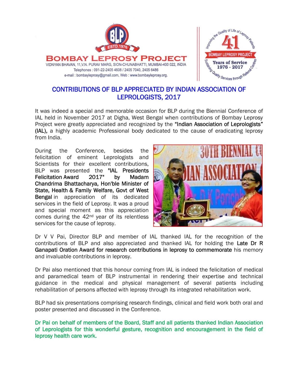 BLP News | Bombay Leprosy Project