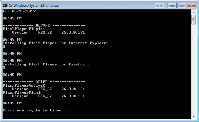 command prompt window of adobe flash player deployment