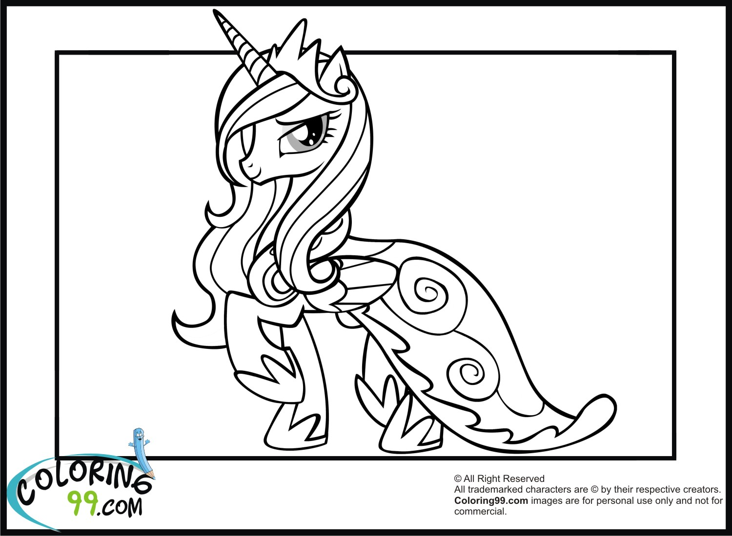 Princess cadence coloring pages team colors for Little princess coloring pages