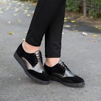 Pantofi dama Piele Rozalia negri tip Oxford • modlet