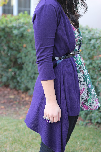 Kenar Belted purple Cardigan Outfit Inspiration