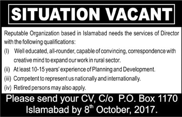 Director Required In Reputed Organization Islamabad Sep 2017