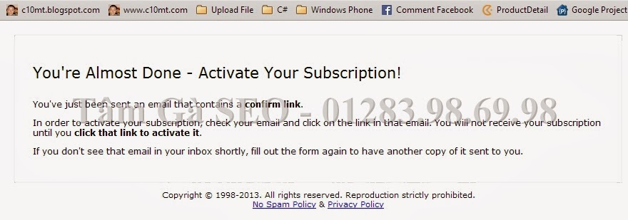 Activate your subcription Freebacklinktool