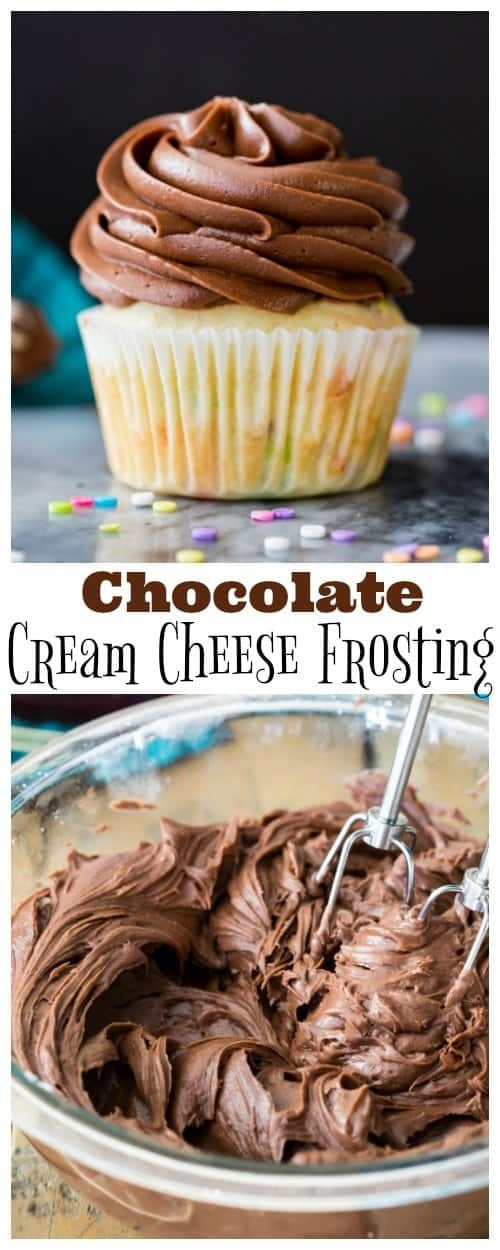 How to make Chocolate Cream Cheese Frosting! Smooth creamy, and perfect for piping, this is always a hit! #frosting #icing #chocolatefrosting #creamcheesefrosting #dessert #recipe