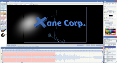 A picture of five program windows. The one at the top middle shows a dark area with a light and the text Xane Corp. Other windows surround it with the tool list, style settings, layer list, and timeline, from the top left and rotating clockwise around the main window.