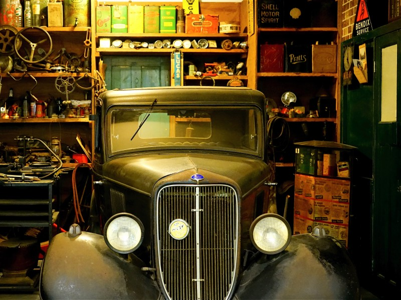 Download Black Classic Car Inside the Garage HD wallpaper. Click Visit page Button for More Images.
