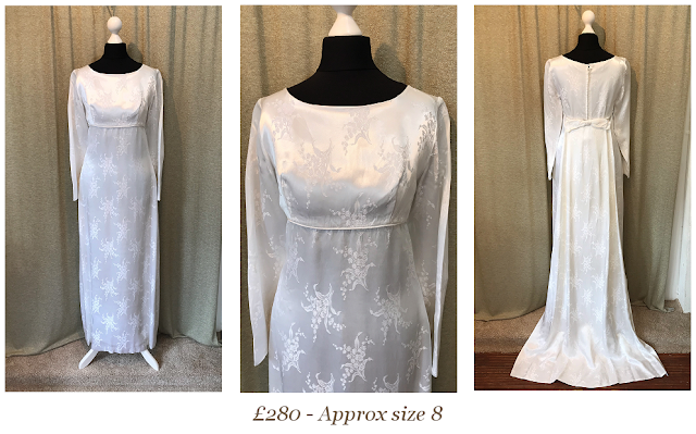 1960's brocade satin empire line vintage wedding dress with train bow and long sleeves size 8