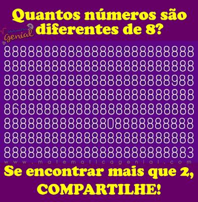 Quantos números são diferentes de 8? Observe a imagem!