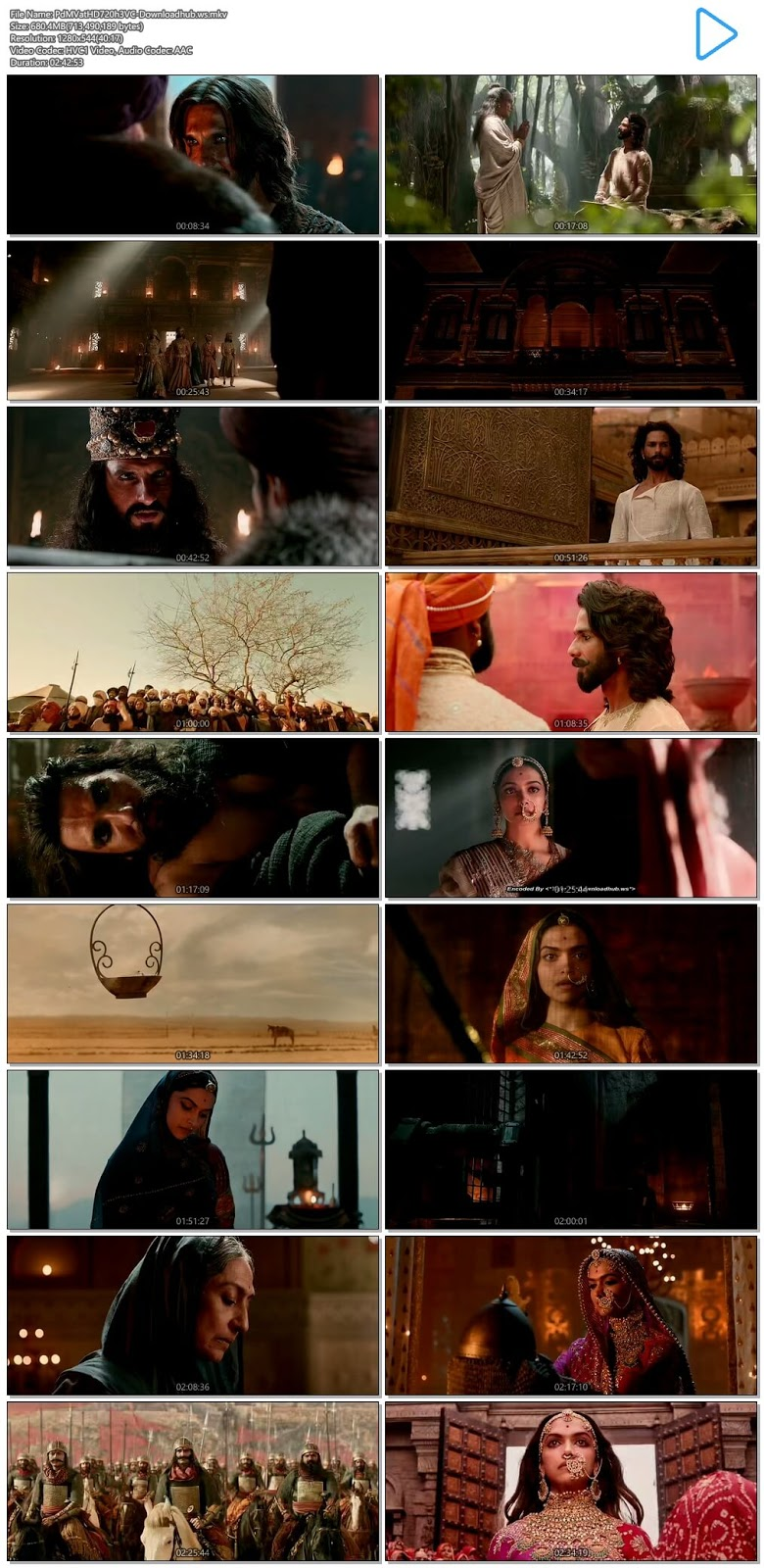 Padmaavat 2018 Hindi 720p HEVC HDRip ESubs