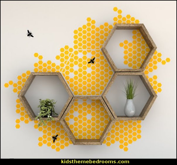 Honey Bees and Hexagon Shelves Wall Shelf Decal Set  bumble bee bedrooms - Bumble bee decor - Honey bee decor - decorating bumble bee home decor - Bumble Bee themed nursery - bee wallpaper mural decals - Honeycomb Stencil - hexagonal stencils - bees in springtime garden bedroom -  bee themed nursery - black yellow bedroom ideas - Hexagon pattern -