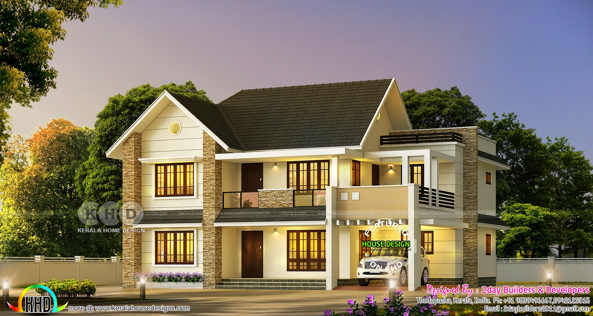 Beautiful 4 Bedroom Sloping Roof Home 2947 Sq Ft Kerala Home Design Bloglovin