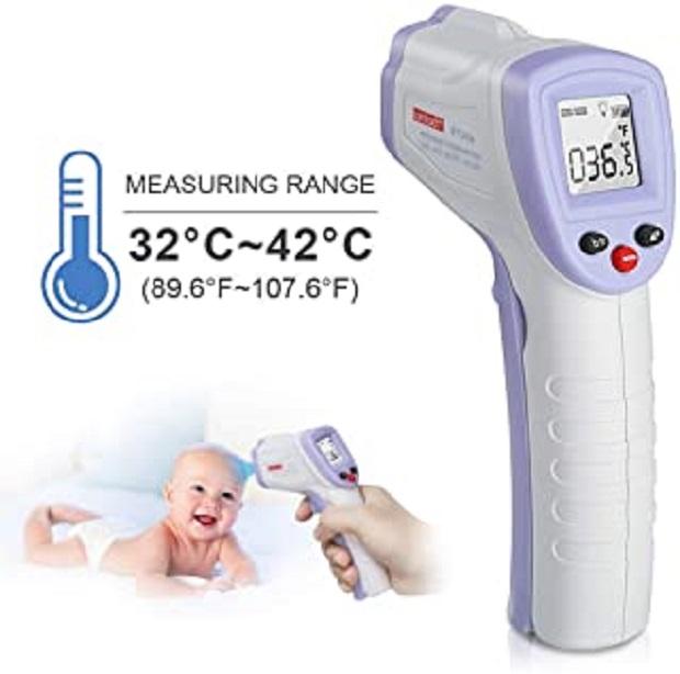 Thermomètre numérique infrarouge, thermomètre sans contact OUBEL, thermomètre numérique pour la fièvre, mesures de température via le front pour bébé, enfants et adultes
