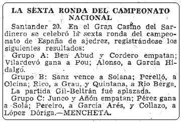 Resultados 6ª ronda de la fase previa del XI Campeonato de España Individual de Ajedrez , ABC