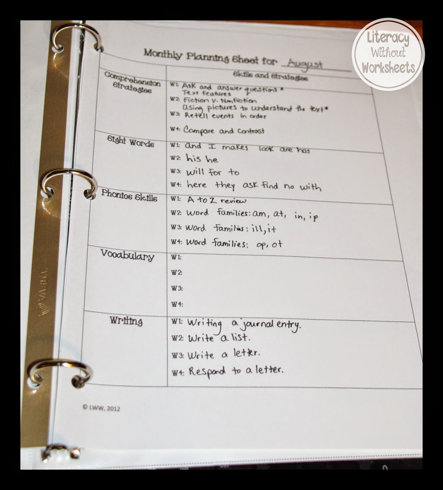 Guided Reading Binder Getting Organized Before School Starts