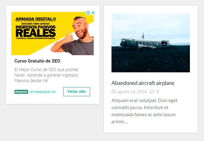 ejemplo anuncio adsense plantilla simple