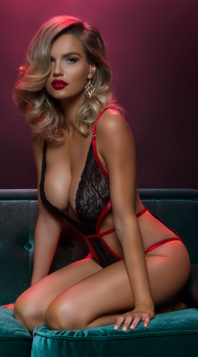 5e79ee340 Our pick for Lingerie Model of the Day is one sultry looking blonde model.
