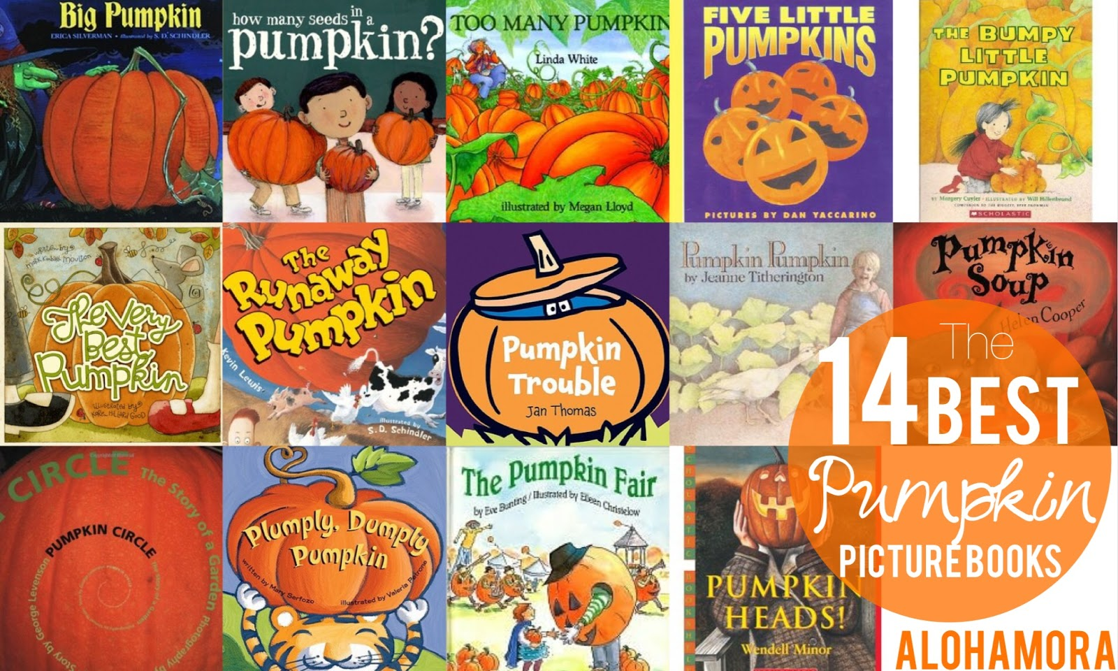 The 14 Very Best Pumpkin Picture Books out there.  All fun books about pumpkins, some with a little Halloween to them (mostly jack-o-lantern connections).  All non-scary and great read alouds for a parent, teacher, or librarian.  Many of the books would make great lessons for reading, math, science, or writing.  Alohamora Open a Book http://www.alohamoraopenabook.blogspot.com/
